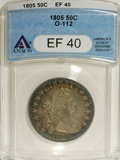 Early Half Dollars: , 1805 50C XF40 ANACS. O-112, R.2. Powder-blue, aqua, and tan-graytoning invigorates this richly detailed representative. Un...