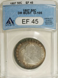 Early Half Dollars: , 1807 50C Draped Bust XF45 ANACS. O-105, R.2. Bands of copper-goldand ocean-blue enrich the peripheries of this partly lust...