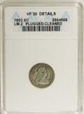 Early Half Dimes: , 1803 H10C Large 8--Plugged, Cleaned--ANACS. VF30 Details. V-1,LM-2, R.4. Plugged over the IB in LIBERTY, although the lett...