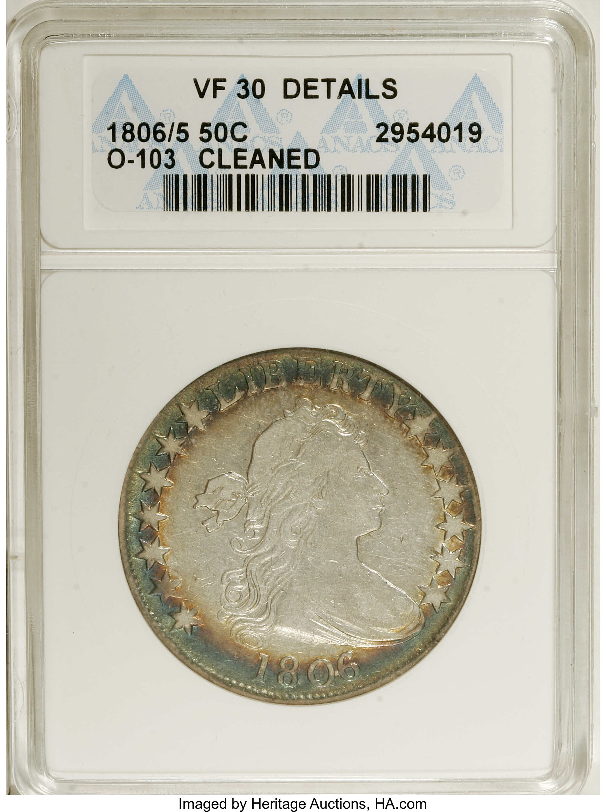 1806/5 50C --Cleaned--ANACS  VF30 Details  O-103, R 2  Bands