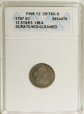 Early Half Dimes: , 1797 H10C 13 Stars--Scratched, Cleaned--ANACS. Fine 12 Details.V-1, LM-4, R.6. LM-4 is the rarest variety of the year, and...