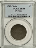 Large Cents: , 1793 Chain 1C Periods AG3 PCGS. S-4, B-5, R.3. This is a desirableexample with smooth dark brown surfaces. Aside from a co...