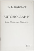 Books:First Editions, H.P. Lovecraft: Autobiography: Some Notes on a Nonentity.(Sauk City: Arkham House, 1963), first edition, 17 pages, stap...