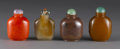 Asian:Chinese, SET OF CHINESE CARVED SNUFF BOTTLES. Set of four Chinese carvedsnuff bottles, of various materials including agate, glass...(Total: 4 )