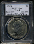 Eisenhower Dollars: , 1976-D $1 Type Two MS66 PCGS. This semi-prooflike Gem has ...