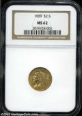 Indian Quarter Eagles: , 1909 $2 1/2 MS62 NGC. Typically struck with satiny luster,...