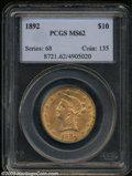 Liberty Eagles: , 1892 $10 MS62 PCGS. Blushes of coppery-orange patina and ...
