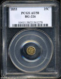 California Fractional Gold: , 1855 25C Liberty Round 25 Cents, BG-226, R.5, AU58 PCGS. ...