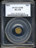 California Fractional Gold: , 1853 50C Liberty Round 50 Cents, BG-430, R.3, AU58 PCGS. ...