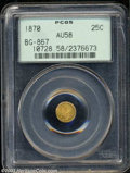 California Fractional Gold: , 1870 25C Goofy Head Round 25 Cents, BG-867, R.4, AU58 PCGS.