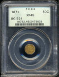 California Fractional Gold: , 1871 50C Liberty Octagonal 50 Cents, BG-924, R.3, XF45 PCGS....