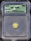 California Fractional Gold: , 1871 50C Liberty Round 50 Cents, BG-1026, Low R.4, AU58 ICG....