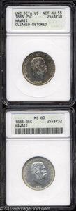 Coins of Hawaii: , 1883 25C Hawaii Quarter--Cleaned, Retoned--ANACS, Unc ... (2 coins)