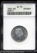 Coins of Hawaii: , 1883 25C Hawaii Quarter AU55 ANACS. Mostly untoned with ...