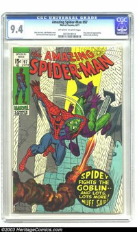 Amazing Spider-Man #97 (Marvel, 1971) CGC NM 9.4 Off-white to white pages. Stan Lee story. John Romita Sr. cover. Gil Ka...