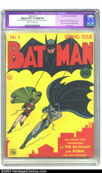 Batman #1 (DC, 1940) CGC Apparent VF 8.0 Slight (P) Off-white to white pages. After lurking in the pages of Detective Co...