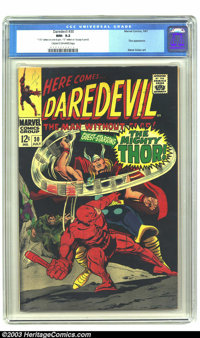 """Daredevil #30 (Marvel, 1967) CGC NM- 9.2 Cream to off-white pages. Thor appearance. Gene Colan art. CGC notes, """" '1..."""