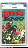 Golden Age (1938-1955):Western, Geronimo #1 (Avon, 1950) CGC VF- 7.5 Off-white pages. IndianFighter; art by Joe Maneely. Overstreet 2003 VF 8.0 value = $10...