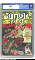 Golden Age (1938-1955):Adventure, Jungle Comics #1 (Fiction House, 1940) CGC FN/VF 7.0 Off-white pages. Origin and first appearance of Kaanga, Wambi, White Pa...