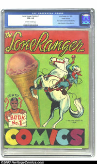 Lone Ranger Comics #1 (Lone Ranger Inc., 1939) CGC FN+ 6.5 Off-white to white pages. First Western comic book devoted to...