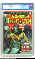 Bronze Age (1970-1979):Horror, The Monster of Frankenstein #2 (Marvel, 1973) CGC NM- 9.2 Cream tooff-white pages. Mike Ploog cover/story art. Overstreet 2...