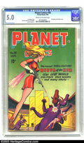 Golden Age (1938-1955):Science Fiction, Planet Comics #38 (Fiction House, 1945) CGC VG/FN 5.0 Cream tooff-white pages. First Mysta of the Moon cover. Overstreet 20...