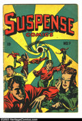 "Golden Age (1938-1955):Horror, Suspense Comics #9 (Continental Magazines, 1945) Condition: GD/VG.Bizarre eyeball cover by L. B. Cole. ""Satan"" story by G. ..."