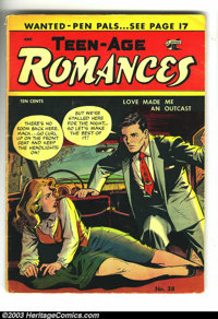 "Teen-Age Romances #38 (St. John, 1954) Condition: VG-. Suggestive cover. Matt Baker art. There is a 1"" spine split..."