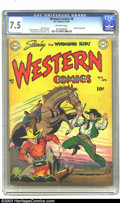 Golden Age (1938-1955):Western, Western Comics #8 (DC, 1949) CGC VF- 7.5 Off-white pages. Origin Wyoming Kid; art by Howard Sherman. Overstreet 2003 VF 8.0 ...