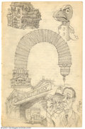 Original Comic Art:Sketches, Robert Crumb - Original Sketches, Barclay St. Ferry (1961). Notes on history and plenty of inventive artwork highlight anoth...