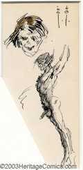Original Comic Art:Sketches, Frank Frazetta - Original Sketch, Head and Body (undated). Expressive ink sketch of all aspects of human anatomy (and we do ...