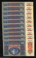 Miscellaneous:Other, Ten Austria-Hungary 1915 10 kronen Pick 19, Crisp Uncirculated....(10 notes)