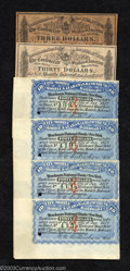 Confederate Notes:Group Lots, Two Confederate Bond Coupons including a $3 and a $30, and ... (6items)