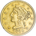 Territorial Gold, 1849 $5 Moffat & Co. Five Dollar--Rim Filed, Cleaned ANACS. XF40 Details....