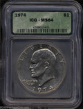 Eisenhower Dollars: , 1974 MS64 ICG. ...