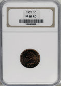 Proof Indian Cents, 1901 1C PR66 Red NGC....