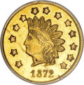 California Fractional Gold, 1872 $1 Indian Round 1 Dollar, BG-1208, Low R.6, MS62 PCGS....
