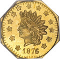 California Fractional Gold, 1876/5 $1 Indian Octagonal 1 Dollar, BG-1129, R.4 MS63 PCGS....