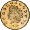 California Fractional Gold, 1872 $1 Indian Round 1 Dollar, BG-1208, Low R.6, AU58 PCGS....