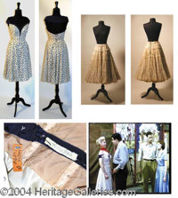 Zsa Zsa Gabor Dress Worn in Lili (1953) - Low cut full white dress with blue polka dots, worn by Zsa Zsa Gabor in the ro...