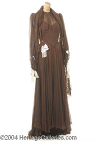 Mildred Natwick Gown Worn in Yolanda and the Thief (1945) - A brown chiffon gown--consisting of skirt, bodice, and lace...