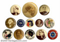 Suffragette Material, Thirteen women, patriotic and comic pins. An eclectic ... (13 items)