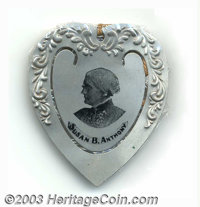 Susan B. Anthony aluminum bookmark. This heart-shaped bookmark pictures the co-founder and guiding force behind the Wome...