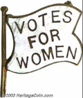 Suffragette Material, Votes for Women enamel flag brooch. This white enamel ...