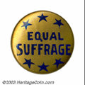"""Suffragette Material, Equal Suffrage button. This 3/4"""" blue on gold button is ..."""