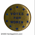 "Suffragette Material, ""Ten star"" Votes for Women button. This 7/8"" button ..."