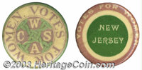 "Two state-issued Women's suffrage buttons. These include: 1 1/4"" button in green and purple, inscribed ""Votes..."