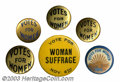 Suffragette Material, Six different Votes for Women buttons. This group Includes ... (6 items)