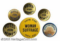 """Six different Votes for Women buttons. This group Includes a 1 1/4"""" pinback, a colorful """"Votes for Women 1915&..."""