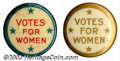 """Suffragette Material, """"Four star"""" Votes for Women buttons. These 7/8"""" buttons ... (2 items)"""